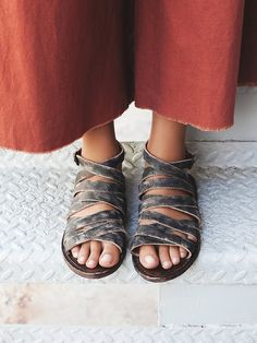Jetsetter Strappy Sandal | Super strappy washed leather sandals. Features an adjustable ankle strap with buckle closure.