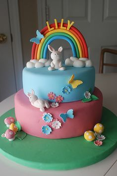 A cake like this, only on top is going to go a little sugar paste ballerina instead of a bunny.