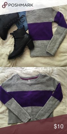 Aeropostale color block sweater this simple and classy sweater is perfect with your favorite high rise jeans as it is slightly cropped. pair with a cute pair of heeled booties and layer with your favorite leather jacket for a perfect winter look! the purple is a more vivid than shown in the pictures Aeropostale Sweaters