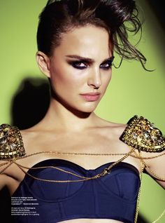 Fashion shoot inspiration...makeup, hair, pose, and that face! Way to go Portman!