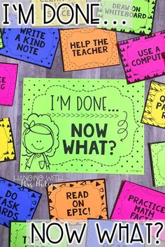 I'm done! Now what? Students can complete these editable, fun fast finishers activities as morning work, after centers, inside recess, and during free times. Improve classroom management when going back to school and throughout the year!