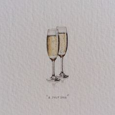 """Day 185 : Cap Classique is the name for sparkling wine made in South Africa according to the Méthode Traditionelle. The words """"champagne"""" and """"champenoise"""" may exclusively be used for wines made in Champagne. Cheers! ✨ 11 x 28 mm. #365postcardsforants #miniature #watercolour #wdc624 #capclassique #capetown #champagne #cheers #4thofjuly #tgif (at Bree Street)"""