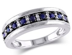 Sapphire and Diamond Ring 3/5 Carat (ctw) in 10k White Gold