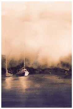 Andreas W Gortan Watercolor Artist, Watercolor Paintings, Watercolor Landscape, Land Scape, Norway, Artwork, Mysterious, Marines, Fine Art