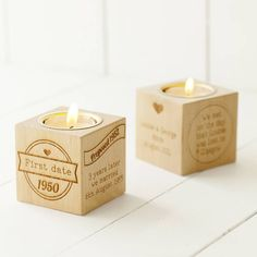 Our Story Engraved Wooden Tealight Cube. Tell the story of you as a couple, with a beautiful solid wooden cube engraved on four sides with an inset tealight holder. #corporategifts