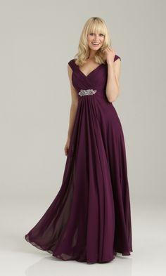 A-line V-neck Chiffon Grape Formal Dresses/Long Evening Dresses with Beading FMAU1404P800220 - Formalmall.com