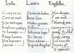 Page from a multilingual phrase book compiled for Elizabeth I of England.