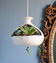 Mid century modern ceramic hanging pot by happylosangeles on Etsy, $30.00