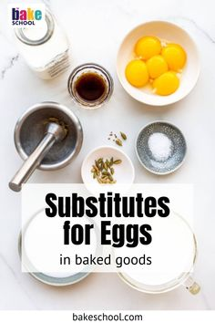 Eggs are an essential ingredient in most baking recipes, but you may not want to bake with them, whether for dietary reasons or allergies. Here's everything you need to know about them and substitutes for eggs in baking. Baking Tips, Baking Recipes, Cookies Without Eggs, Baking Science, Eggless Baking, Substitute For Egg, Egg Free, Baked Goods, Allergies