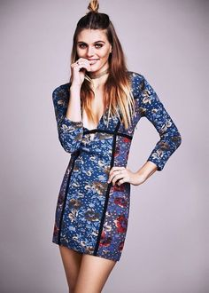 NEW Free People blue Special Edition Mixed Floral Print Stretch Bodycon Dress 8 #FreePeopleSpecialEdition #bodycondress #versatile