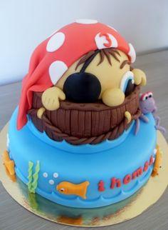 Little Pirate Birthday Cake Peek a boo Pirate cake Pirate Birthday Cake, Adult Birthday Cakes, Star Wars Birthday, Pirate Ship Cakes, Monster High Cakes, Easy Minecraft Cake, Batman Cakes, Lego Cake, Superhero Cake