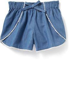 Chambray Tulip-Hem Shorts for Toddler