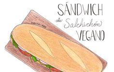 Sándwich de salchichón vegano | Food Blogging Recetas Cocina Creativa Cocina Saludable Ilustración de comida Food Illustration