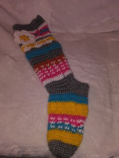 Crochet knee high slipper socks knitted leg by NiftyCreations4you