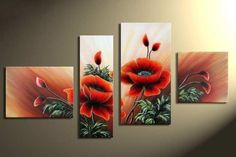 FREE delivery hot sell Top Quality triptich triptych cross stitch kit poppy flower, Quadruple cross stitch