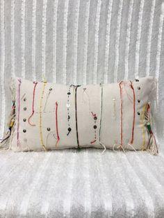 Colourful Hmong African Moroccan Inspired Lumbar Pillowcase | Pillow cover | Boho Pillow | Coins | Gold | Tribal | Handira | Berber