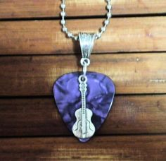 Purple Pearl FENDER Guitar Pick Necklace with Silver Guitar  Charm   gingasgalleria - Jewelry on ArtFire