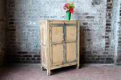 Vintage Distressed Nightstand Yellow Side Table Vintage Indian Cabinet Teak Wood Handmade Cabinet Boho Decor Farm Chic