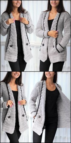 Creative & Artistic Crochet Patterns and Ideas? Crochet Coat, Crochet Cardigan Pattern, Crochet Clothes, Diy Crochet, Crochet Designs, Crochet Patterns, Long Sweaters For Women, Sweater Design, Petite Fashion