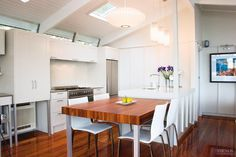 This renovated kitchen is a combination of original architecture and modern-day living.