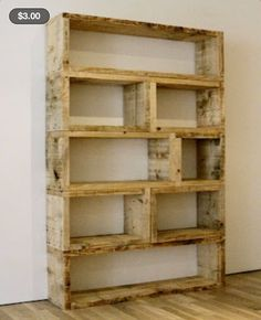 Pallet bookshelf / dvd or blu-ray shelves.