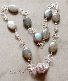 Gemstone Necklace Labrodorite Wire wrapped by DewdropsLuxeStyle, $125.00