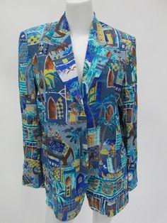Kenzo Jungle Women's Blue Rayon 3 Button Blazer Jacket Size 38 Made in France | eBay