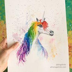 Unicorn, watercolor / Unicornio, aquarela / illustration, children, fantasy, faire tail, decor / ilustracao, decoracao, ilustracao, infantil, conto de fadas/ drigalindo1@gmail,com / copyright by Adriana Galindo