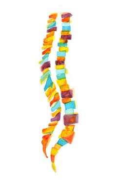 Abstract Spine Watercolor Print Vertebral Column Art by LyonRoad
