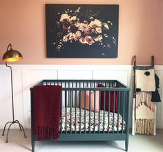Bohemian Nursery by Lindsey Beck of AMA Interiors Related posts:We love the fresh take on a pallet wall - mixing it with white makes it look so .DIY Blanket Ladder For a Baby s Baby nursery decor - - Baby Bedroom, Baby Room Decor, Nursery Room, Girl Nursery, Girl Room, Kids Bedroom, Nursery Decor, Nursery Ideas, Baby Room Colors