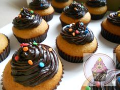 Cookie dough cupcakes topped with dark choc Ganache @ https://www.facebook.com/pages/Little-Krush-Cupcakes-NZ/485728288124195