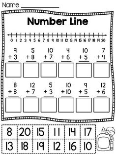 Number line cut and paste worksheets - fun way to practice number lines!