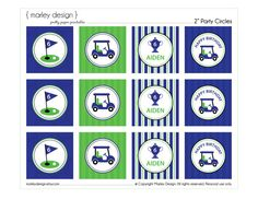 Golf Party Toppers Printable 2 Circles / Golf