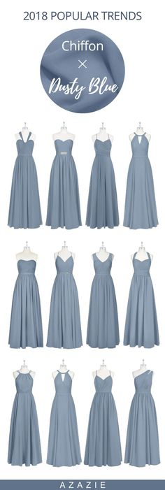 Dress your bridesmaid in this chic chiffon and dusty blue bridesmaid dress with pockets and free custom sizing We also offer colors to choose from thus you can find whatever you want! is part of Dusty blue bridesmaid dresses - Bridesmade Dresses, Dusty Blue Bridesmaid Dresses, Dusty Blue Weddings, Bridesmaid Outfit, Wedding Bridesmaids, Wedding Dresses, Wedding Entourage Gowns, Bridesmaid Color, Prom Dresses