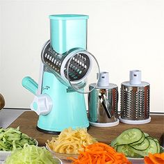 MAXGOODS Vegetable Cutter Round Mandoline Slicer Grater For Carrot Potato Cheese 304Stainless Steel Blades Kitchen Accessories GadgetsBlue ** Learn more by visiting the image link. (This is an affiliate link) #KitchenGadgets