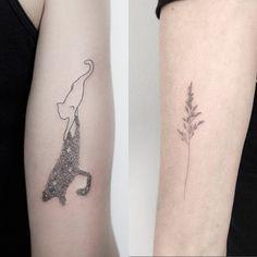 #tattoofriday - Jabuk Nowicz: tatuagens minimalistas, linhas finas e pontilhismo - gato/ramo;