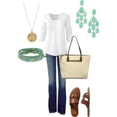 simple casual weekend outfit. Bag, necklace bracelet and earrings Stella and Dot--need a white ls top & cognac flip flops