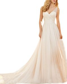 Ikerenwedding Womens Straps Vneck Chapel Train Tulle Aline Wedding Dresses Ivory US16 -- Be sure to check out this awesome product.