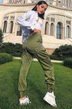 satin side lace-up cargo pants – Lupsona Green Pants Outfit, Cargo Pants Outfit, Green Cargo Pants, Cargo Pants Women, Sweatpants Outfit, Pants For Women, Trendy Outfits, Cute Outfits, Fashion Outfits