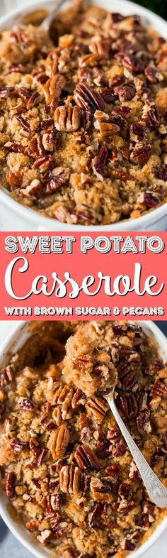 This Sweet Potato Casserole is loaded with rich and cozy flavors of brown sugar, cinnamon, and nutmeg. It's laced with butter and crunchy pecans, the perfect holiday side dish! via @sugarandsoulco