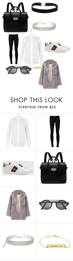 """""""Untitled #5107"""" by brittklein ❤ liked on Polyvore featuring AllSaints, Paige Denim, Gucci, Mulberry, TIBI and Illesteva"""