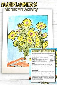 Help your kids make these beautiful sunflower drawings to help celebrate the fall season. A fun Monet themed art activity.