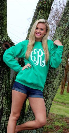 Full Monogrammed Crewneck Sweatshirt $44.99 ON SALE FOR $29.99 until 4/8/15. #fashion #ootd #monogram