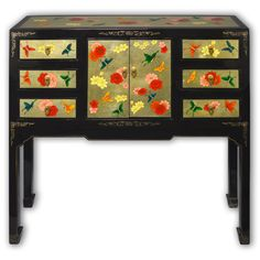 "37"" Chinese Black Lacquer Side Table with 2 Doors and 6 Drawers Hand Painted on Gold Leaf"