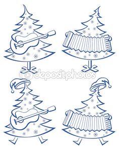 рождественские деревья, set, музыканты — Стоковое изображение #7805955