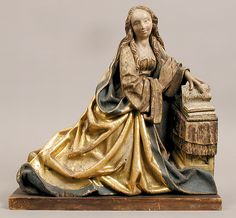 Virgin of the Annunciation.  Date:ca. 1450. Geography:Made in Franconia ? Culture:South German. Medium:Oak, polychromy & gilding. Dimensions:Overall (including base): 14 1/2 x 14 1/2 x 4 1/2 in. (36.8 x 36.8 x 11.5 cm). Overall (without base): 13 11/16 x 14 5/16 x 3 9/16 in. (34.7 x 36.3 x 9 cm) | The Met