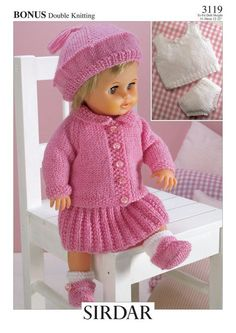 knitted dolls Herbie's Doll Sewing, Knitting & Crochet Pattern Collection: Vintage Hayfield Knitting Pattern Number 3119 For 12 inch to 22 inch Baby Dolls Knitted Doll Patterns, Knitted Dolls, Baby Knitting Patterns, Baby Patterns, Free Knitting, Pattern Sewing, Free Pattern, Knitted Bags, Vogue Knitting