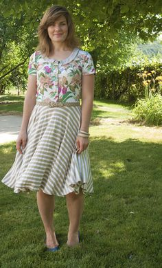 mad mim floral and stripe knit dress
