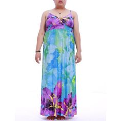 b8655796a64 Trendy Plus Size Plunging Neck Spaghetti Strap Flower Print Dress For Women