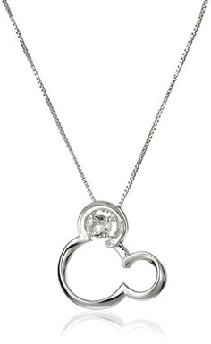 Disney Sterling Silver Open Mickey Mouse Image with Genuine White Quartz -April Birthstone Pendant Necklace, 18